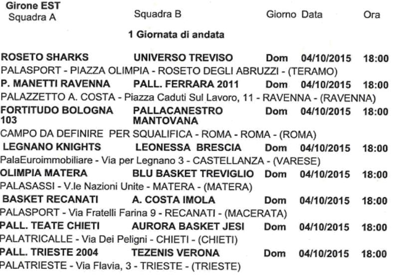 Calendario Serie A2 Basket.Basket Serie A2 2015 2016 I Calendari Dei Due Gironi
