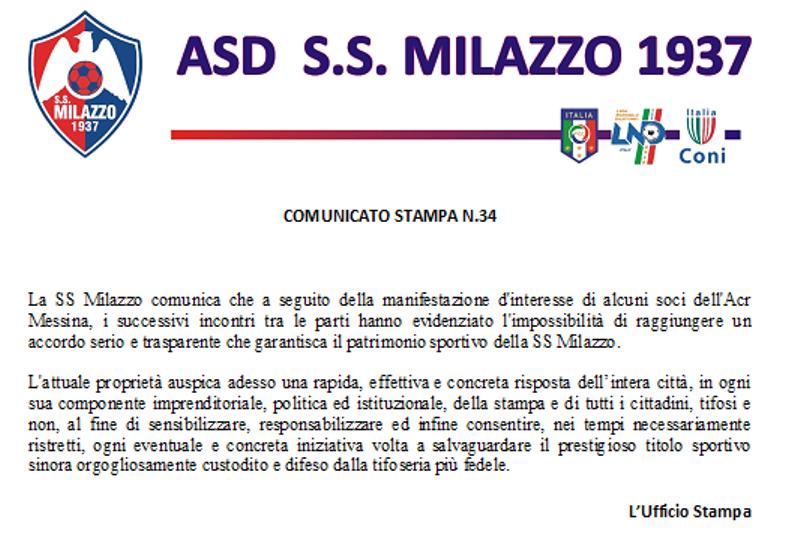 Comunicato Milazzo